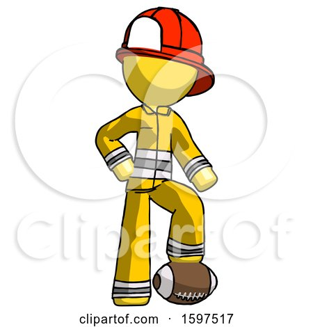 Yellow Firefighter Fireman Man Standing with Foot on Football by Leo Blanchette