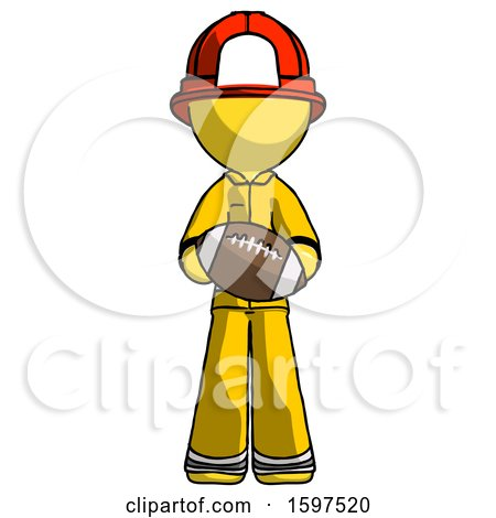 Yellow Firefighter Fireman Man Giving Football to You by Leo Blanchette