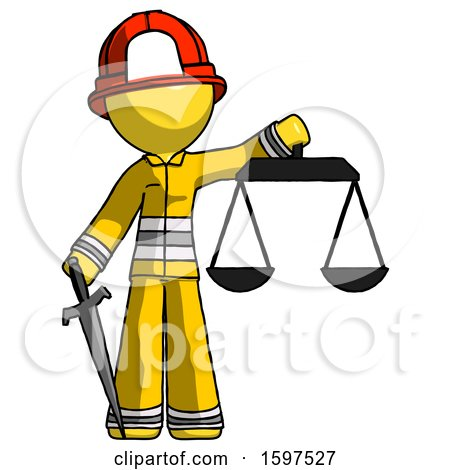 Yellow Firefighter Fireman Man Justice Concept with Scales and Sword, Justicia Derived by Leo Blanchette