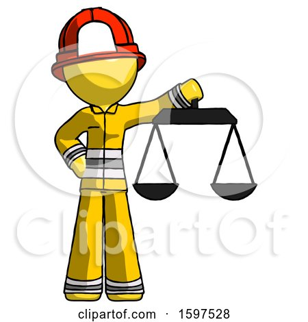 Yellow Firefighter Fireman Man Holding Scales of Justice by Leo Blanchette