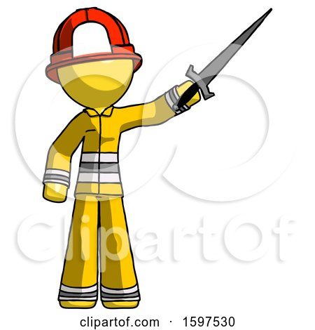 Yellow Firefighter Fireman Man Holding Sword in the Air Victoriously by Leo Blanchette