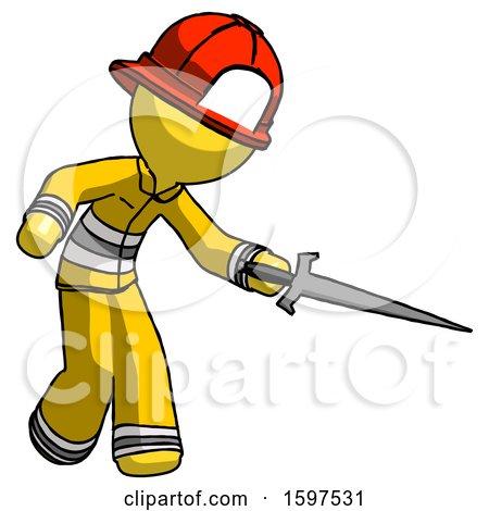 Yellow Firefighter Fireman Man Sword Pose Stabbing or Jabbing by Leo Blanchette