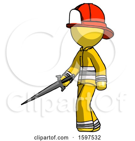 Yellow Firefighter Fireman Man with Sword Walking Confidently by Leo Blanchette