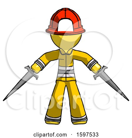 Yellow Firefighter Fireman Man Two Sword Defense Pose by Leo Blanchette