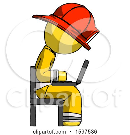 Yellow Firefighter Fireman Man Using Laptop Computer While Sitting in Chair View from Side by Leo Blanchette