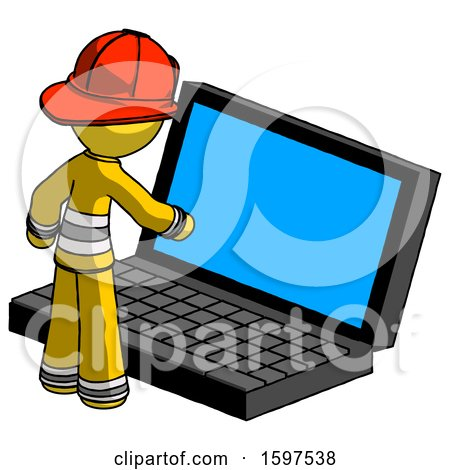 Yellow Firefighter Fireman Man Using Large Laptop Computer by Leo Blanchette