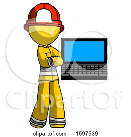 Yellow Firefighter Fireman Man Holding Laptop Computer Presenting Something on Screen by Leo Blanchette