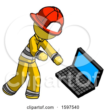 Yellow Firefighter Fireman Man Throwing Laptop Computer in Frustration by Leo Blanchette