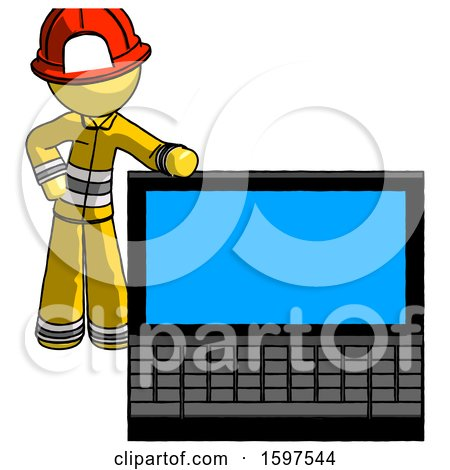 Yellow Firefighter Fireman Man Beside Large Laptop Computer, Leaning Against It by Leo Blanchette