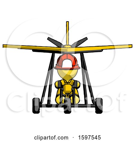 Yellow Firefighter Fireman Man in Ultralight Aircraft Front View by Leo Blanchette
