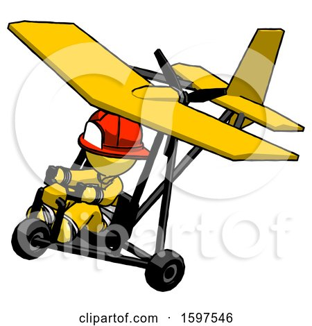 Yellow Firefighter Fireman Man in Ultralight Aircraft Top Side View by Leo Blanchette
