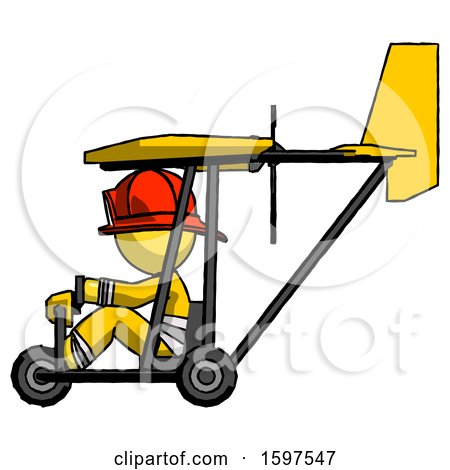 Yellow Firefighter Fireman Man in Ultralight Aircraft Side View by Leo Blanchette