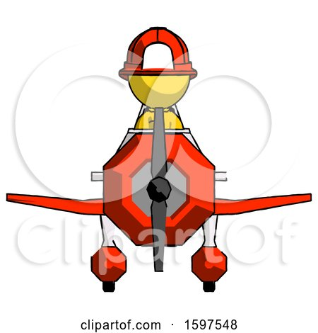 Yellow Firefighter Fireman Man in Geebee Stunt Plane Front View by Leo Blanchette