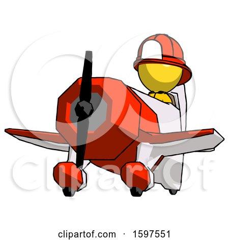 Yellow Firefighter Fireman Man Flying in Geebee Stunt Plane Viewed from Below by Leo Blanchette
