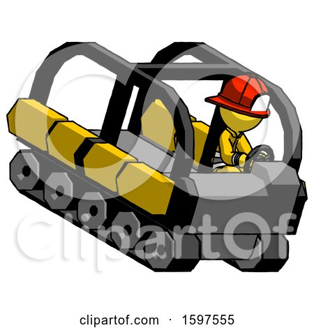 Yellow Firefighter Fireman Man Driving Amphibious Tracked Vehicle Top Angle View by Leo Blanchette