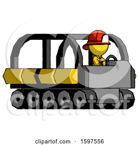 Yellow Firefighter Fireman Man Driving Amphibious Tracked Vehicle Side Angle View by Leo Blanchette