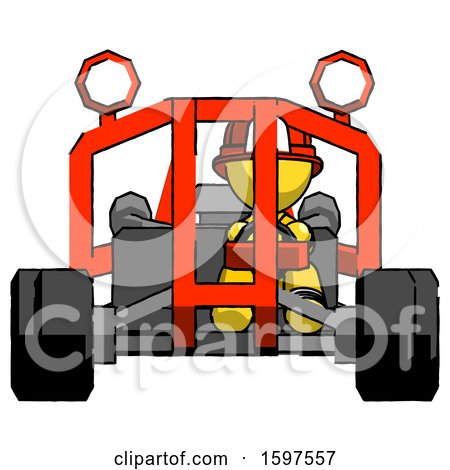 Yellow Firefighter Fireman Man Riding Sports Buggy Front View by Leo Blanchette