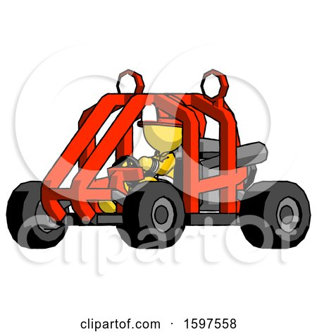 Yellow Firefighter Fireman Man Riding Sports Buggy Side Angle View by Leo Blanchette