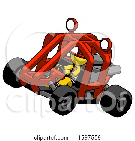 Yellow Firefighter Fireman Man Riding Sports Buggy Side Top Angle View by Leo Blanchette