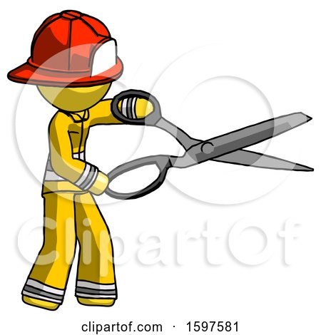 Yellow Firefighter Fireman Man Holding Giant Scissors Cutting out Something by Leo Blanchette