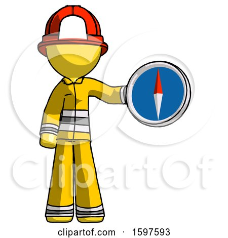 Yellow Firefighter Fireman Man Holding a Large Compass by Leo Blanchette