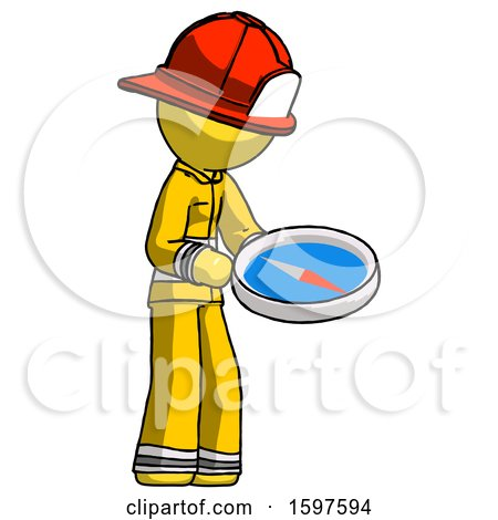 Yellow Firefighter Fireman Man Looking at Large Compass Facing Right by Leo Blanchette