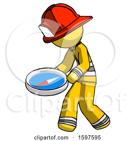 Yellow Firefighter Fireman Man Walking with Large Compass by Leo Blanchette