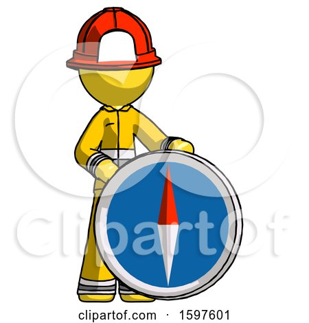 Yellow Firefighter Fireman Man Standing Beside Large Compass by Leo Blanchette