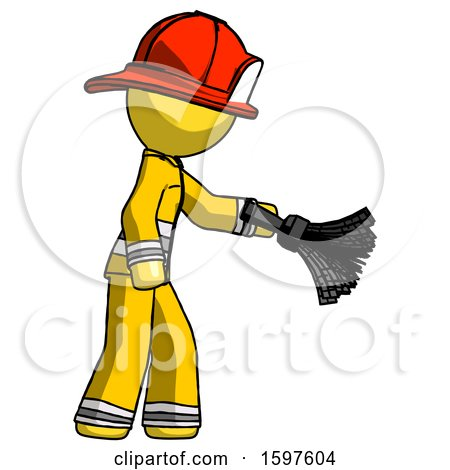 Yellow Firefighter Fireman Man Dusting with Feather Duster Downwards by Leo Blanchette