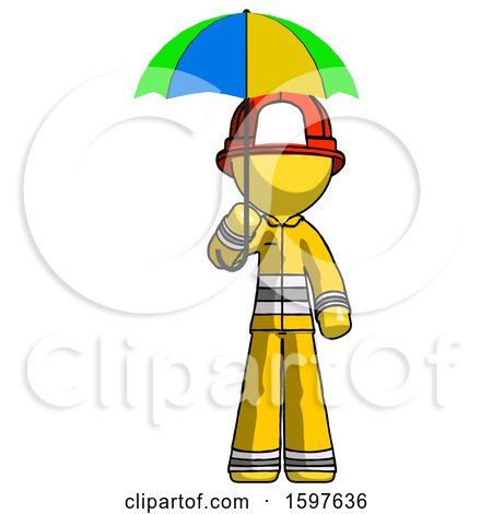 Yellow Firefighter Fireman Man Holding Umbrella Rainbow Colored by Leo Blanchette