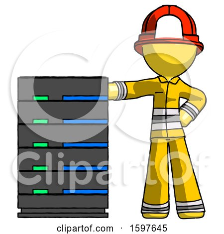 Yellow Firefighter Fireman Man with Server Rack Leaning Confidently Against It by Leo Blanchette