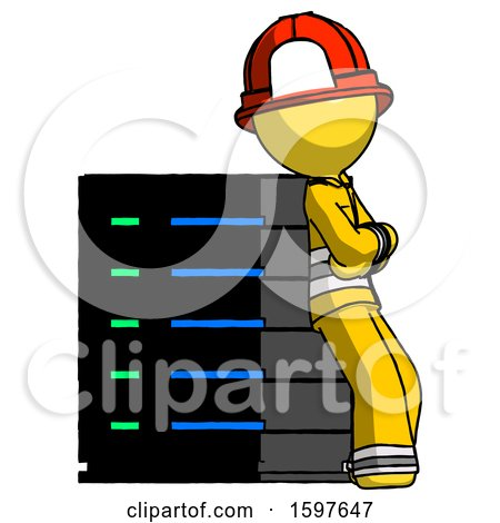 Yellow Firefighter Fireman Man Resting Against Server Rack Viewed at Angle by Leo Blanchette