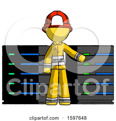 Yellow Firefighter Fireman Man with Server Racks, in Front of Two Networked Systems by Leo Blanchette