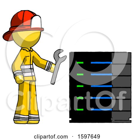 Yellow Firefighter Fireman Man Server Administrator Doing Repairs by Leo Blanchette