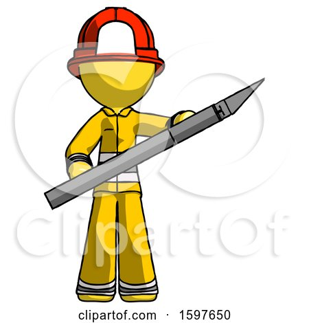 Yellow Firefighter Fireman Man Holding Large Scalpel by Leo Blanchette