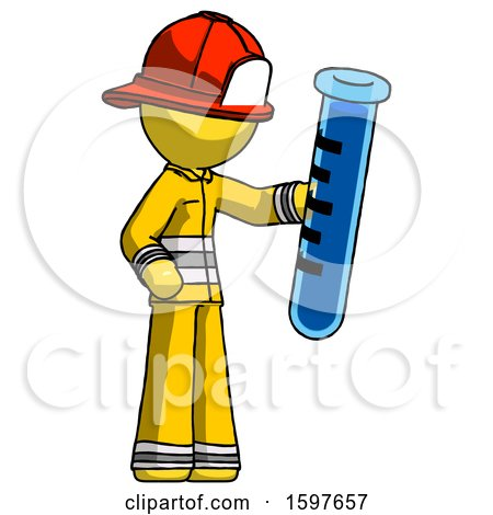 Yellow Firefighter Fireman Man Holding Large Test Tube by Leo Blanchette