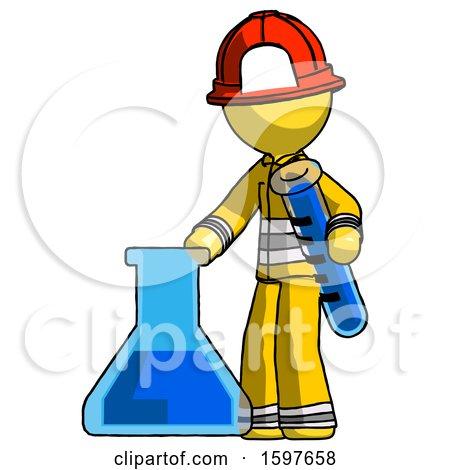 Yellow Firefighter Fireman Man Holding Test Tube Beside Beaker or Flask by Leo Blanchette