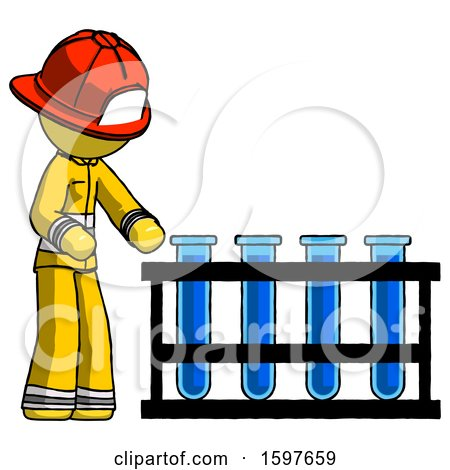 Yellow Firefighter Fireman Man Using Test Tubes or Vials on Rack by Leo Blanchette