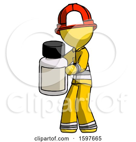 Yellow Firefighter Fireman Man Holding White Medicine Bottle by Leo Blanchette
