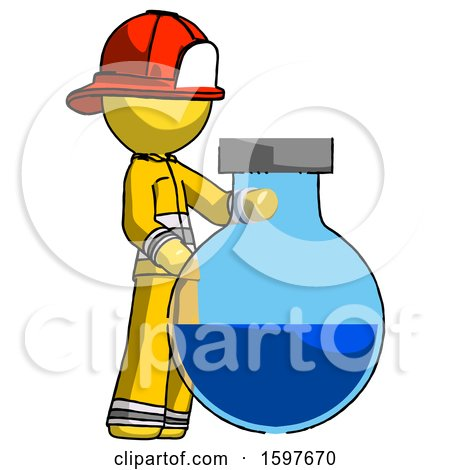 Yellow Firefighter Fireman Man Standing Beside Large Round Flask or Beaker by Leo Blanchette