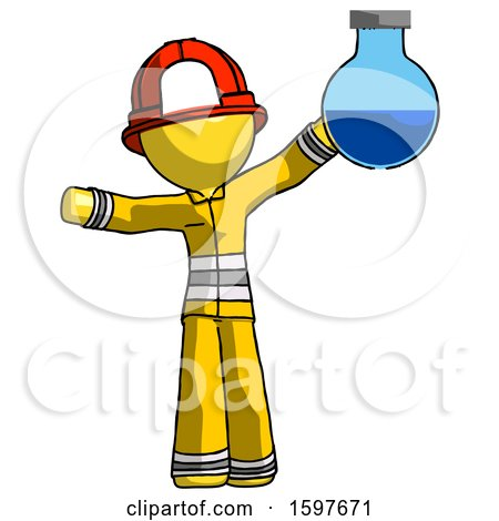 Yellow Firefighter Fireman Man Holding Large Round Flask or Beaker by Leo Blanchette