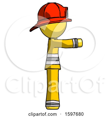 Yellow Firefighter Fireman Man Pointing Right by Leo Blanchette