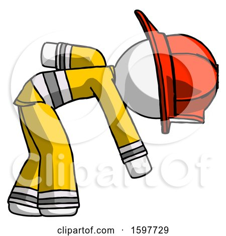 White Firefighter Fireman Man Picking Something up Bent over by Leo Blanchette