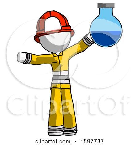 White Firefighter Fireman Man Holding Large Round Flask or Beaker by Leo Blanchette