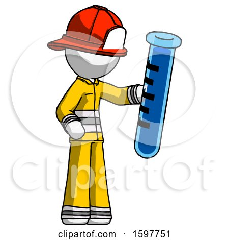 White Firefighter Fireman Man Holding Large Test Tube by Leo Blanchette