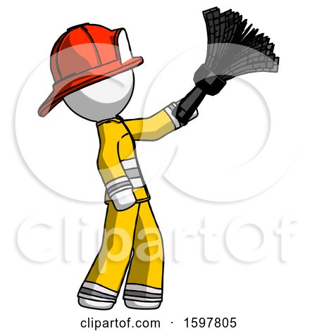 White Firefighter Fireman Man Dusting with Feather Duster Upwards by Leo Blanchette