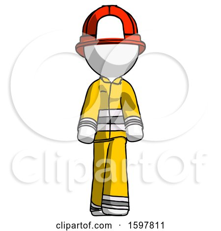 White Firefighter Fireman Man Walking Front View by Leo Blanchette