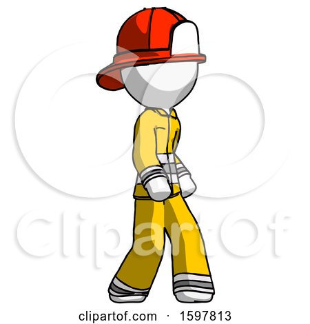 White Firefighter Fireman Man Walking Turned Right Front View by Leo Blanchette