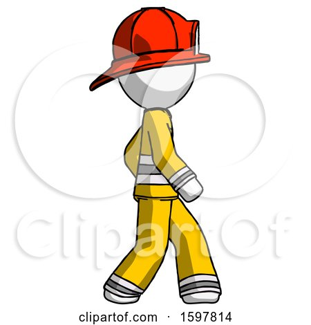 White Firefighter Fireman Man Walking Right Side View by Leo Blanchette