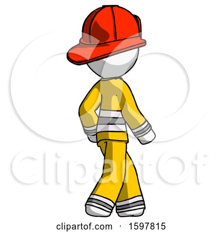 White Firefighter Fireman Man Walking Away Direction Right View by Leo Blanchette